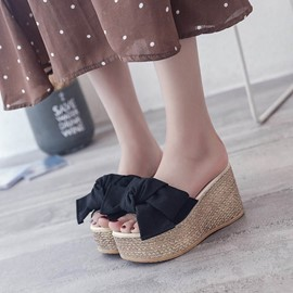 Ericdress Bowknot Slip-On Wedge Heel Mules Shoes