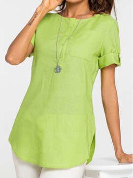 Ericdress Loose Plain Mid-Length Cuffed Short Sleeve Blouse