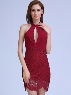 Ericdress Halter Hollow Lace Backless Bodycon Dress