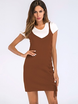 Ericdress Lace-Up Pullover Sleeveless Bodycon Dress