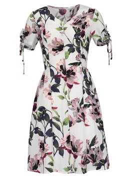 Ericdress V-Neck Floral Single-Breasted A-Line Dress