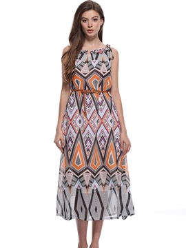 Ericdress Geometric Ethnic Pullover Casual Dress
