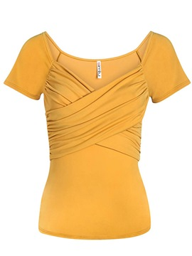 Ericdress Pleated Solid Color Slim Tee Shirt