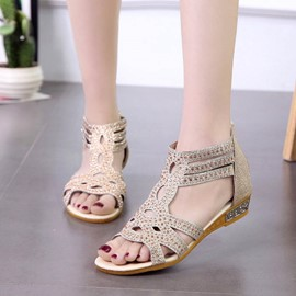 Ericdress Rhinestone Heel Covering Mid-Cut Upper Wedge Sandals