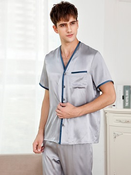 Ericdress Short Sleeve Pocket Plain Silk Single-Breasted Pajamas Sets
