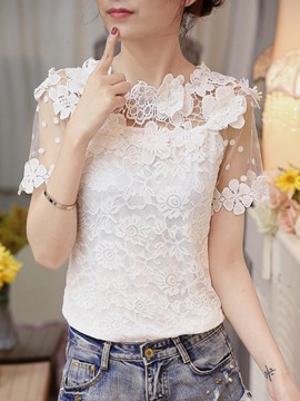Ericdress Lace Crochet Short Sleeve Blouse