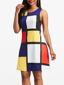 Ericdress Plaid Color Block Pullover Print Women's Casual Dress