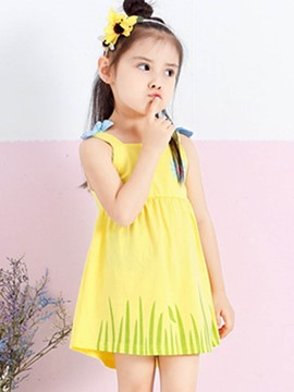Ericdress Floral Print Spaghetti Strap Bowknot Girl's Summer Dress
