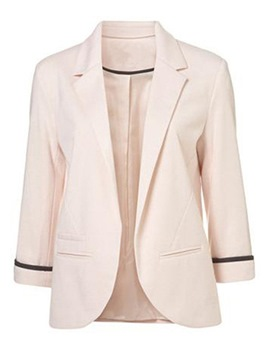 Ericdress Notched Lapel Pocket Color Block Blazer