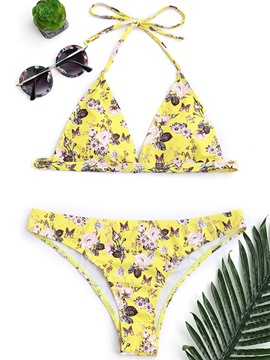 Ericdress Halter Lace Up Floral Yellow Bikini Bathing Suits