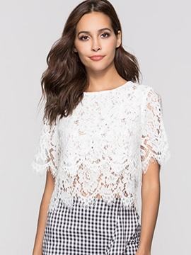 Ericdress Lace Scoop Slim Short Short Sleeve Blouse