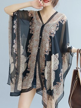Ericdress Floral Print Casual Chiffon Cape