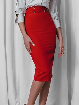 Ericdress Bodycon Slit Knee-Length Plain Women's Skirt