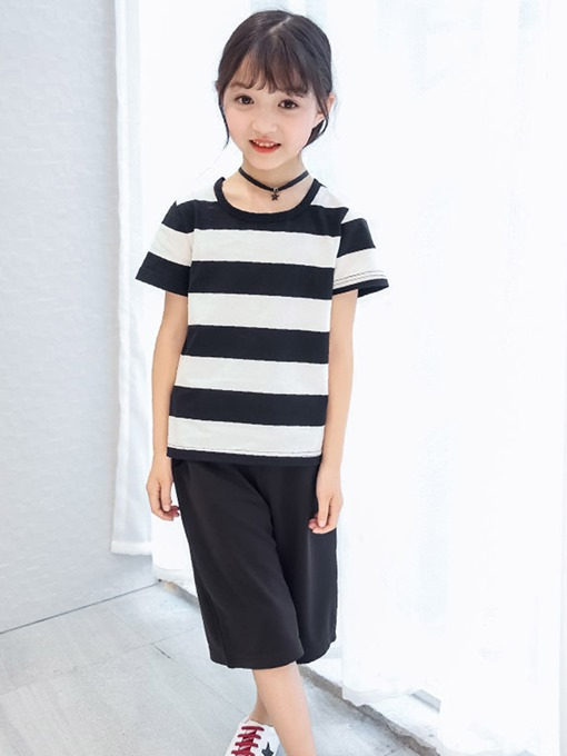 Ericdress Stripped T Shirts Plain Pants Girl's Casual Outfits