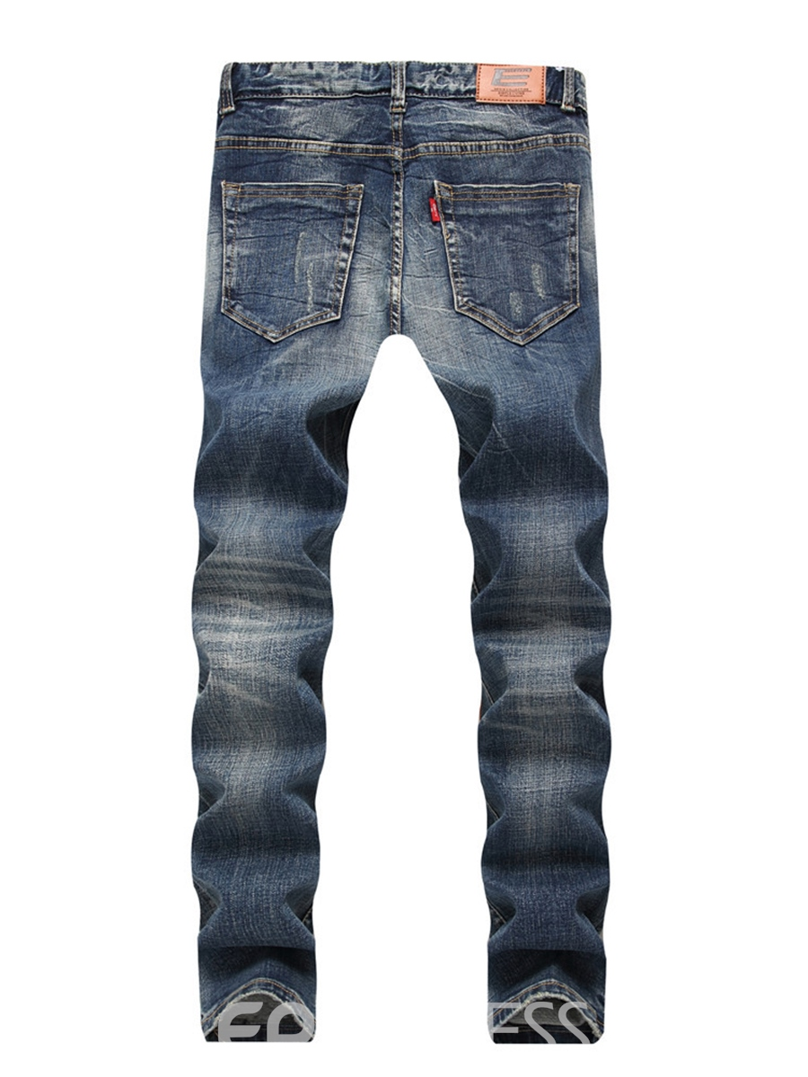 Ericdress Mid-Waist Worn Zipper Men's Denim Pants