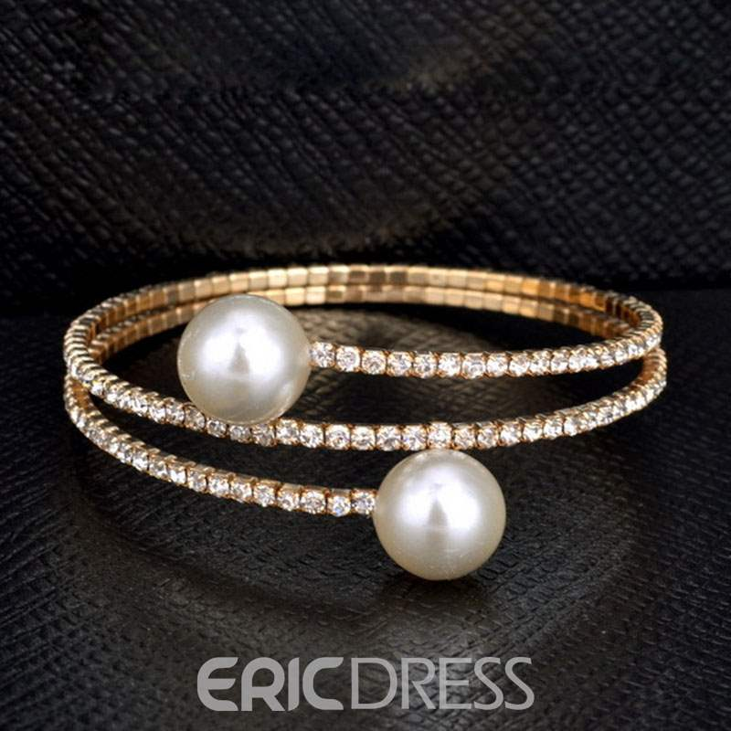Ericdress Pearl&Rhinestone Multilayer Bracelet