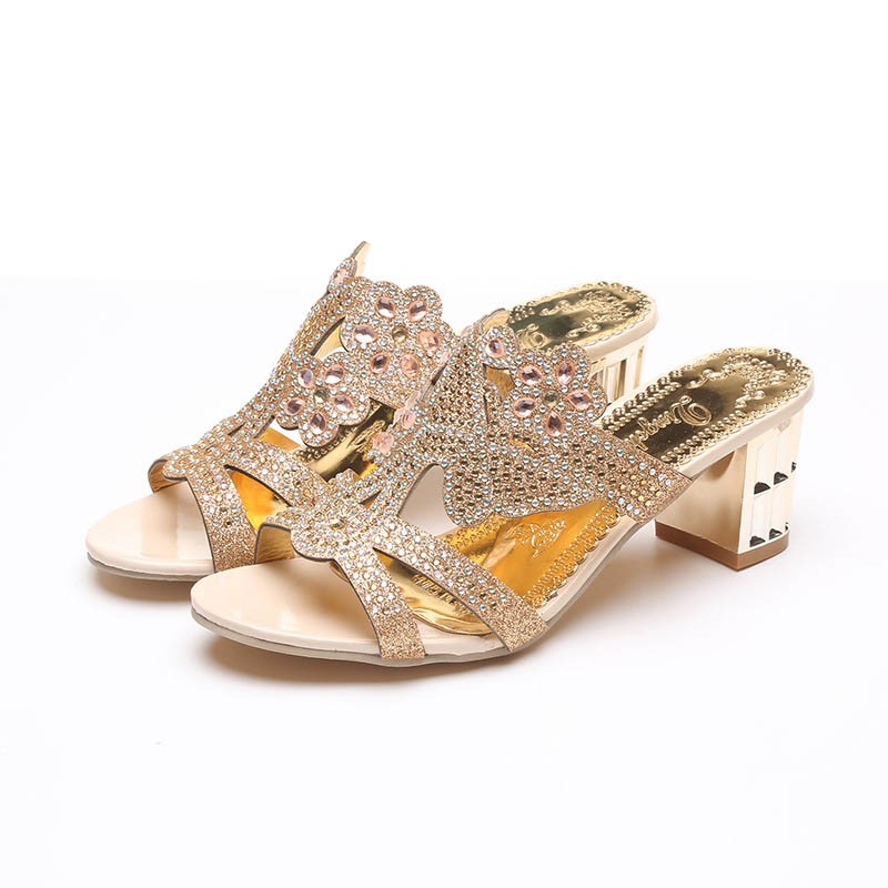 Ericdress Rhinestone Chunky Heel Slip-On Mules Shoes