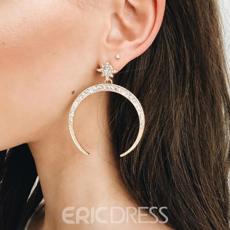 Ericdress Moon&Star Casual Drop Earring