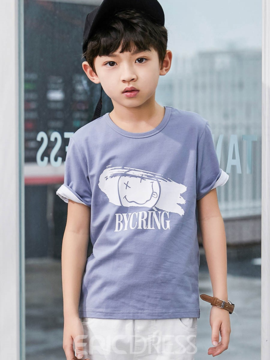 Ericdress Cartoon Letter Print Boy's Short Sleeve T Shirt