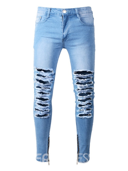 Ericdress Ripped Worn Slim Shealth Men's Denim Pencil Pants