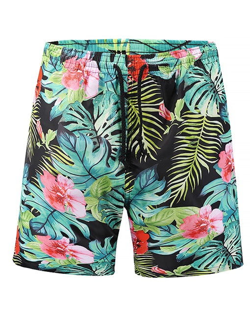 Ericdress Loose Plant Mid Waist Mens Beach Shorts