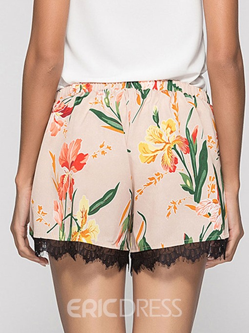 Ericdress Asymmetric Print Lace Women's Shorts