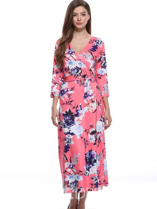 Ericdress Pink V-Neck Floral Lace-Up Casual Dress
