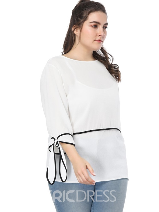 Ericdress Lace-Up Plus Size Loose T-Shirt