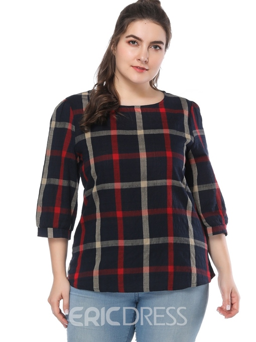 Ericdress Mid-Length Color Block Plaid Plus Size T-Shirt