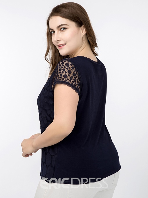 Ericdress Polka Dots Lace Slim Plus Size T-Shirt