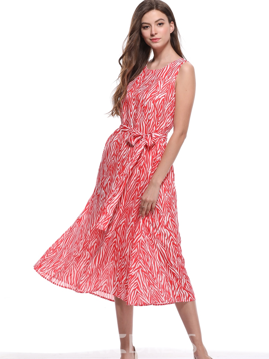 Ericdress Red Round Neck Pullover Print A-Line Dress