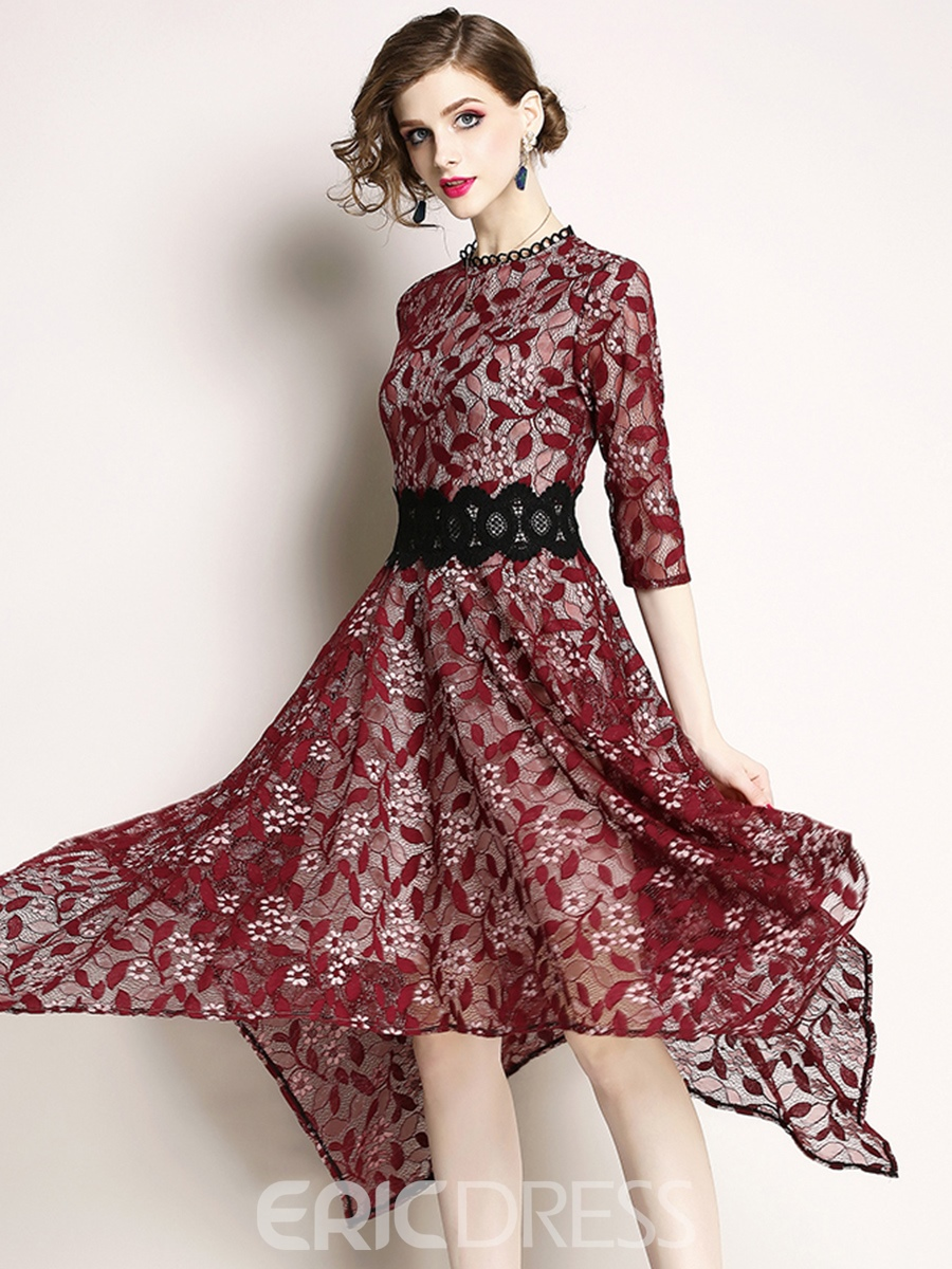 Ericdress Asymmetric Half Sleeve Patchwork Hollow Lace Dress