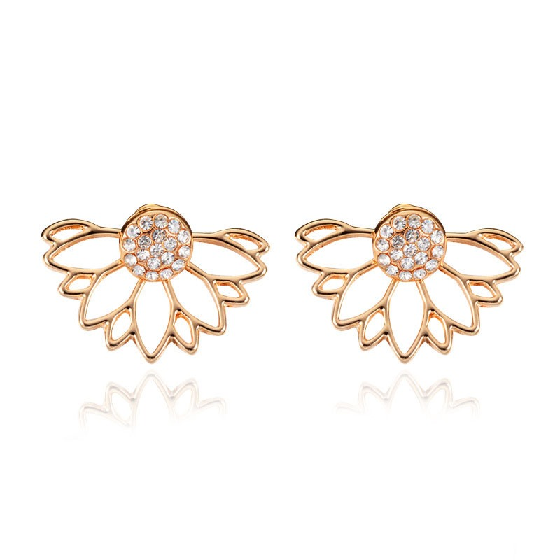 Ericdress Hollow Out Diamante Wave Shape Stud Earring