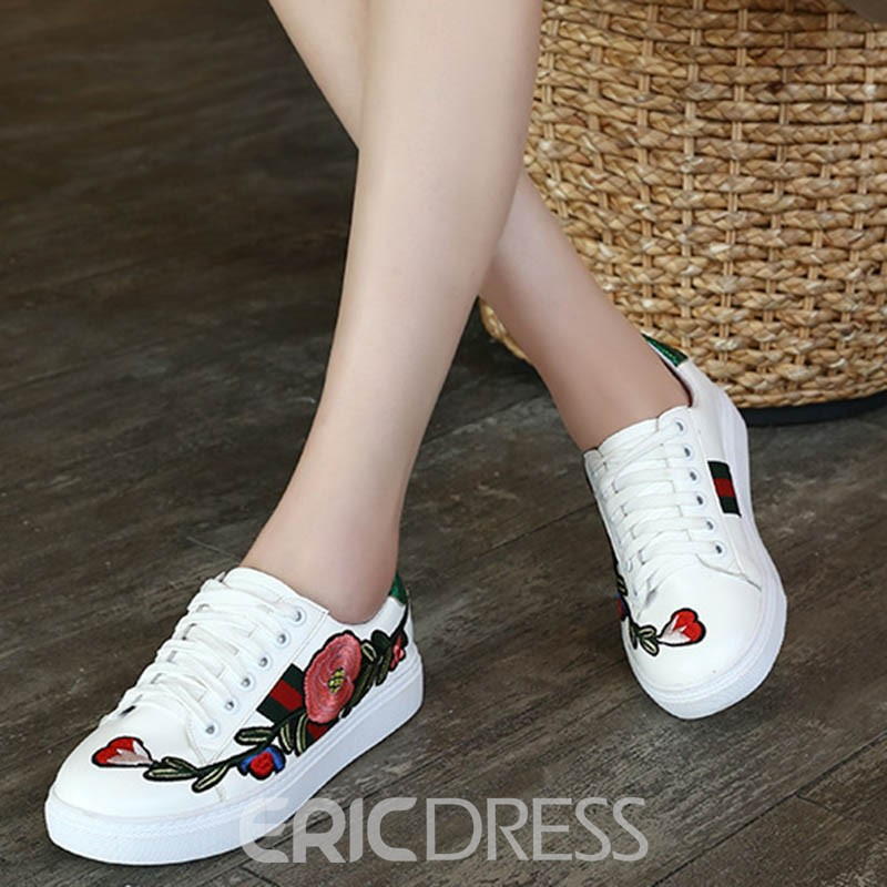 Ericdress Floral Embroidery Platform Lace-Up Women's Flats