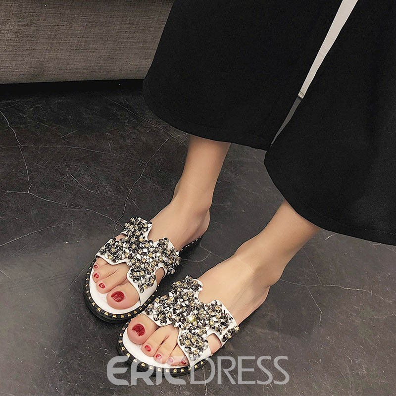 Ericdress Plain Rhineston Slip-On Mules Shoes