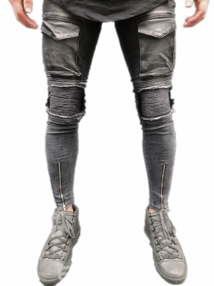 Ericdress Slim Worn Zipper Shealth Men's Denim Pencil Pants