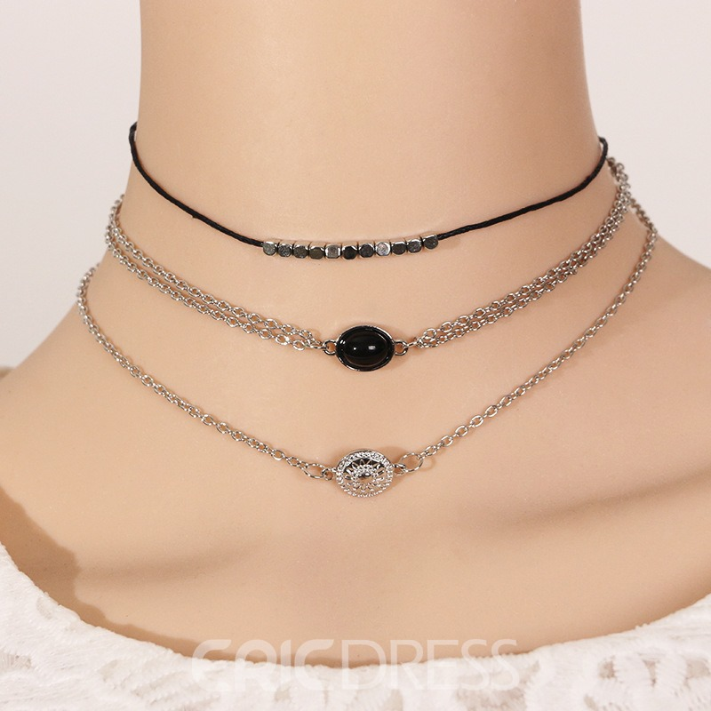 Ericdress Grunge Three Chain Choker Necklace