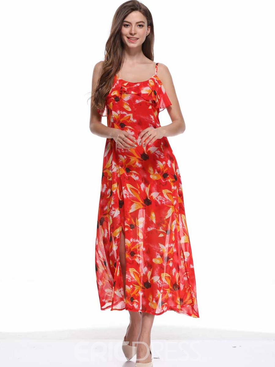 Ericdress Red Floral Falbala Casual Dress