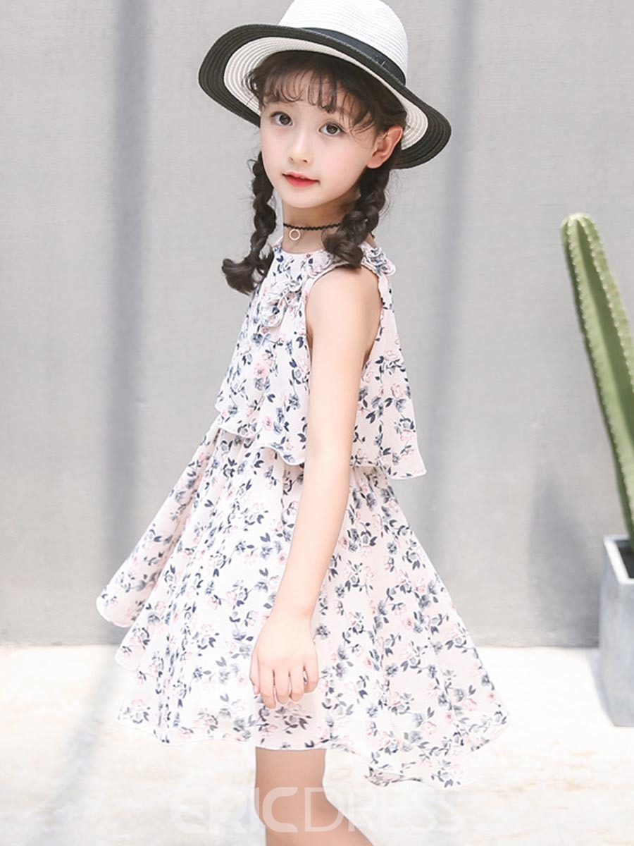 Ericdress Floral Print A-Line Girl's Chiffon Summer Dress