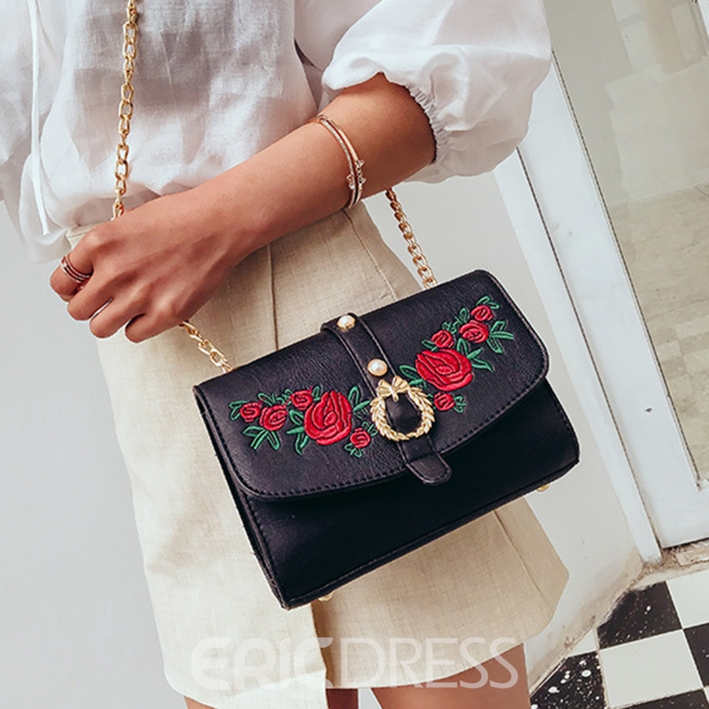 Ericdress Synthetic Leather Magnetic Snap Crossbody Bag