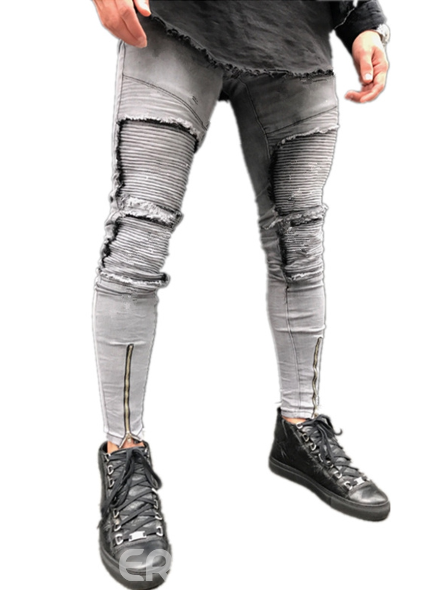 Ericdress Worn Slim Fashion Zipper Men's Denim Pencil Pants
