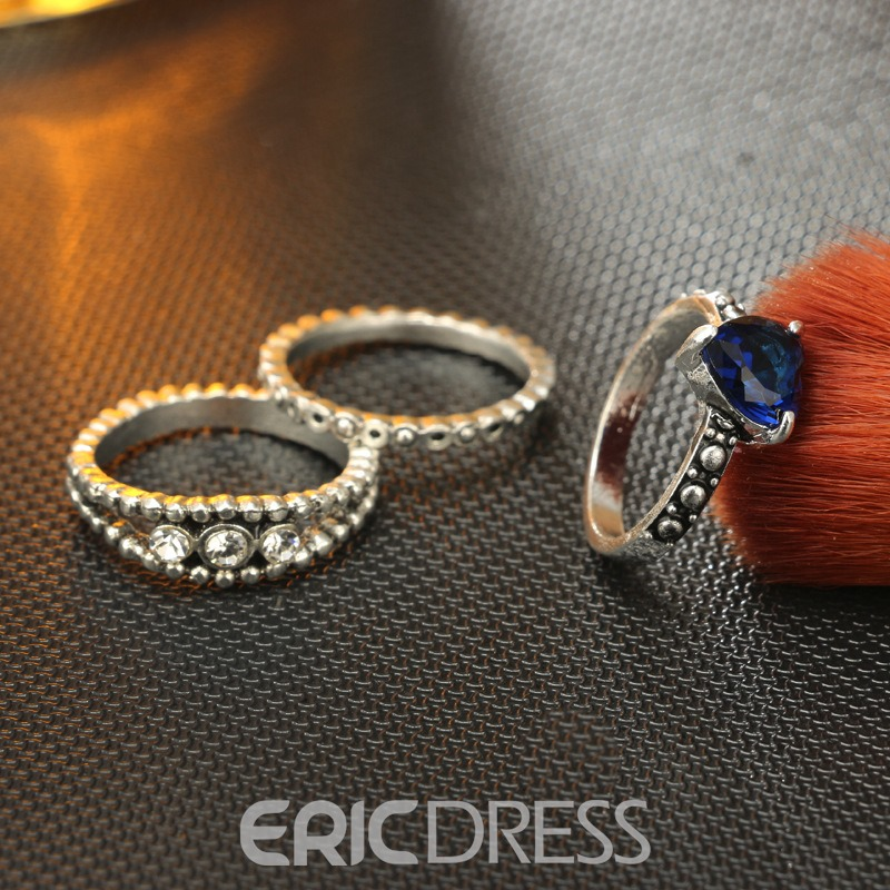 Ericdress Vintage Heart Cut Zircon Knuckle Ring