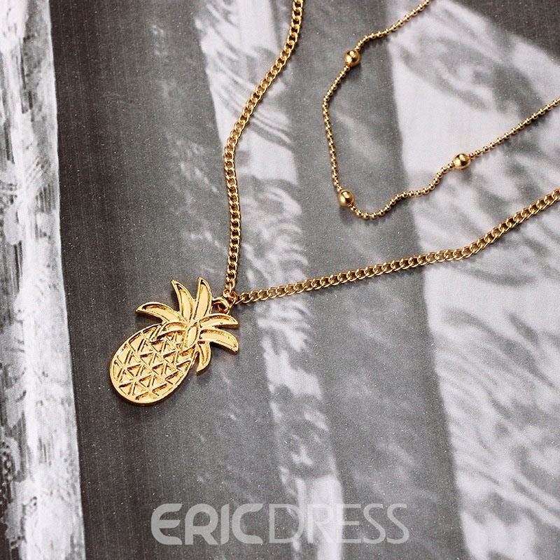 Ericdress Alloy Pineapple Golden Double Chain Necklace
