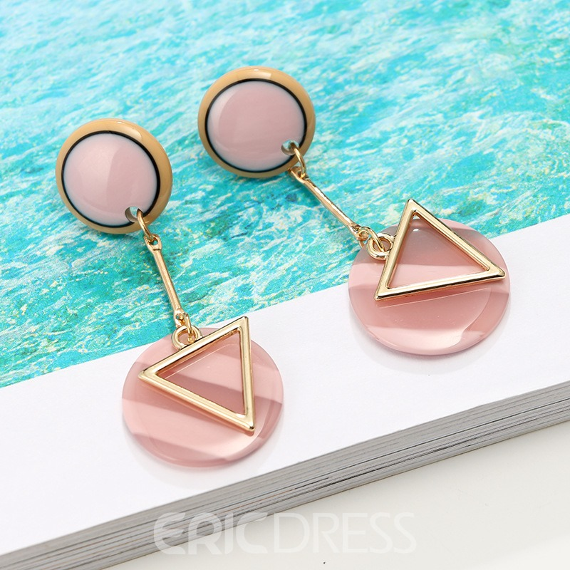 Ericdress Chic Style Pink Mauve Drop Earring