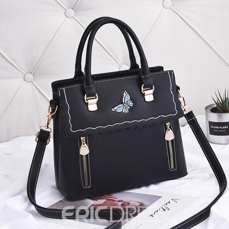 Ericdress Fresh Butterfly Embroidery Handbag