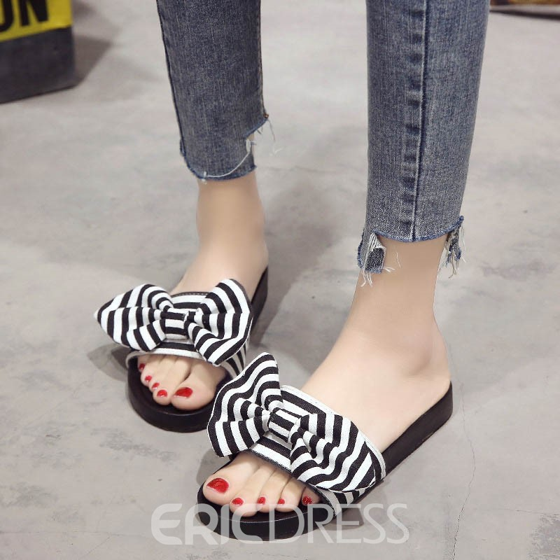 Ericdress Stripe Bowknot Flip Flop Mules Shoes