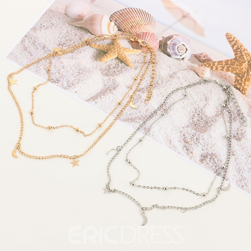 Ericdress Moon&Star Double Chain Ladies Necklace