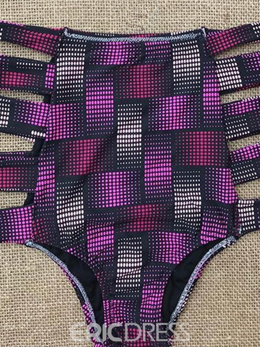 Ericdress Purple Off the Shoulder Plaid High Waist Bikini Suits