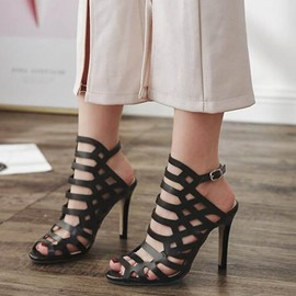 Ericdress Hollow Strappy Buckle Peep Toe Stiletto Sandals