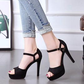 Ericdress Line-Style Buckle Peep Toe Stiletto Sandals